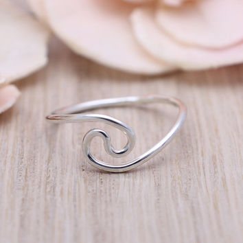 925 sterling silver wave stackable hammered ring