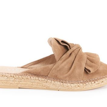 Palafolls Suede Knotted Slip-on Mules - Camel