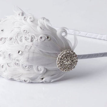 Flapper Girl Bridesmaid Silver Grey Vintage Style Feather Headband with Swarovski Crystals-Wedding Hair Piece, 1920s Woman