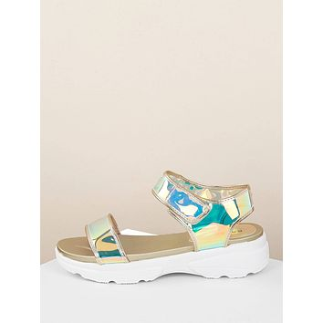 Open Toe Iridescent Chunky Platform Sole Sandals