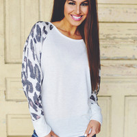 Ivory Leopard Sleeve Top
