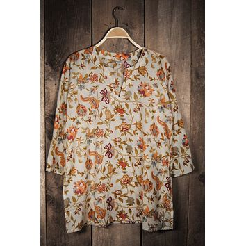 Cotton Tunic Top Earth Tones Floral