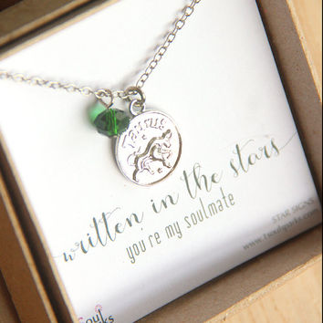 Best Friend Soulmate Zodiac Sign Necklace -  Taurus Necklace, Emerald Crystal, Silver Necklace, May Birthday Gift, Taurus Gift