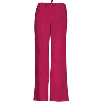 ScrubStar Women's Drawstring Cargo Scrub Pants, XLarge, Classic Red, 90005