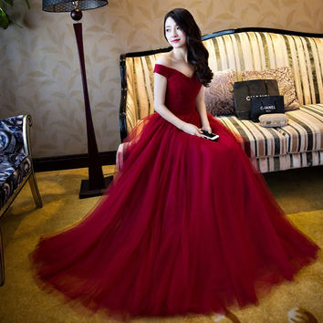2016 Elegant Burgundy Red Long chiffon Evening Dresses vestido longo festa Women dresses Formal Gowns Prom Dresses soiree GF56