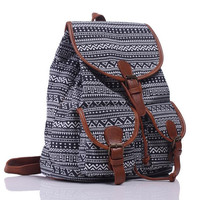 Cool Ethnic Aztec Geometry Canvas Ethnic Style Large Backpack Travel Bag School Bookbag