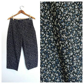 90s Does 50s High Waist Peddle Pusher // Rockabilly Pin Up Crop Pant Sz M