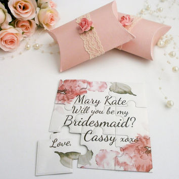 Bridesmaid  Invitation  Will you be my Bridesmaid Wedding Invitation Flower girl Maid of Honor Gift Puzzle Proposal Card