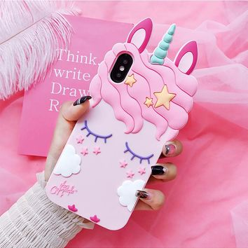 For iPhone X Unicorn phone Cases For iphone 8 8plus 7 7plus 6 6S 6plus Cute Cartoon horse Soft back case cover girl case