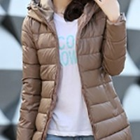 Beige Long Sleeve Zip Front Hooded Thigh Length Horizontal Quilted Puffer Coat