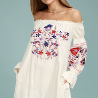 Free People Fleur Du Jour Cream Embroidered Dress
