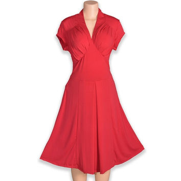 Sexy Deep V-neck High waist Elegant Slim Classy Vintage Audrey Hepburn Style 1950's Rockabilly Swing Dress (Color: Red) = 1716102212