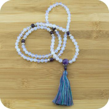Faceted Opalite Mala with Amethyst