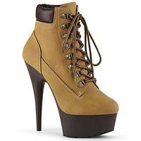 "Delight 600tl-2 Tan Nubuck Work Style 6"" High Heel Ankle Boots 5-14"