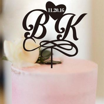 Personalized Wedding Cake Topper Bride and Groom Initials