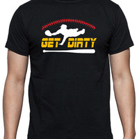 Baseball T-Shirt with Three Color Design that says Get Dirty, Player Diving for Catch, Bat, Baseball Stitches, Black Short Sleeve, Cotton