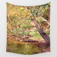 Autumn At Hickory Ridge Pond Wall Tapestry by Theresa Campbell D'August Art