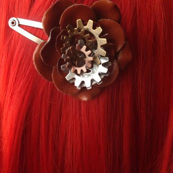 Brown Mechanical Flower Hair Clip, Steampunk Mechanical Jewelry, Steampunk Hair Accessories, Gothic Flower Hair Clip, Vintage Pinup Hair
