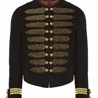 Black Stand Collar Embroidery Metallic Court Style Coat - Choies.com