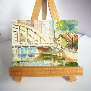 Elgin Bridge, Singapore, original aceo peinture, watercolor painting, landscape, wall art id1360755, not a print, gift idea , river, house