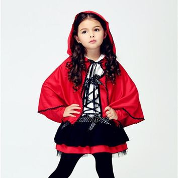 2017 Girls Little Red Riding Hood Costume Child Small Red Devil Cape Cosplay Halloween Christmas Carnival Party Shows
