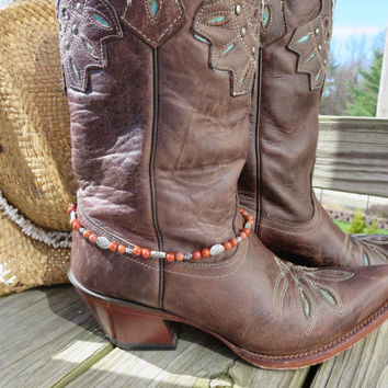 Southwest Beaded Cowgirl Western Cowboy Boot Bracelet Boot Bling Southwest Charming Red Jasper Silver Boot Jewelry Anklet or Choker Necklace