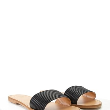 Faux Leather Ribbed Sandals