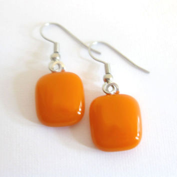 Fused Glass Dangle Earrings, Bright Orange Drop Earrings - Orange Flame by mysassyglass
