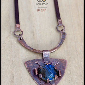 Hand forged copper necklace with labradorite: statement rustic fold forming copper and leather necklace.magic stone