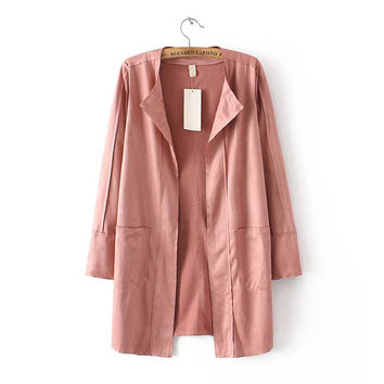 X010 autumn fashion women brief pink color faux suded long sleeve open stitch cardigan  jacket ladies casual jackets