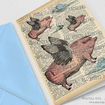 Flying Pigs Greeting Card-4x6 inches-Birthday Invitation-Funny Pig card-Funny animal card-Dictionary card-Design by NATURA PICTA NPGC067