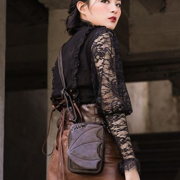 Punk Brown Batwing Motorcycle Bag Phone Coin Purse Rivet Belt Steampunk Waist Bag Shoulder Bag