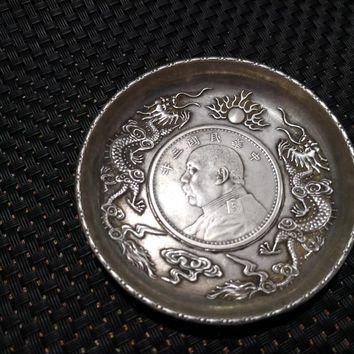 CHINEA FOLK old Carved Tibetan silver plate coin ornaments