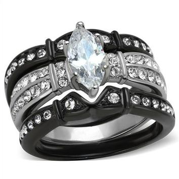Marquise CZ Black and Silver CZ Stainless Steel Wedding Ring Set