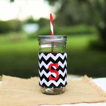 Mason Jar Tumbler 24 oz | Mason Jar To Go Cup | BPA Free Lid and Straw | Free Personalization | Black and White Chevron