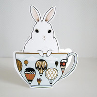 Bunny in a Teacup Blank Greeting Card