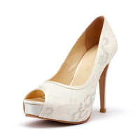 Lace Ivory White Peep Toe  Wedding Shoe.Peep Toe Lace White Bridal Heel. Wedding Shoes.  Wedding Shoes with French Lace, Lace Ivory Heels