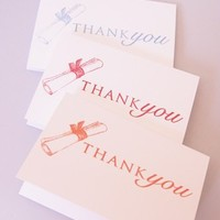 Diploma Graduation Thank You Card Set of Eight Match Your School Color