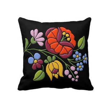 Kalocsa Embroidery - Hungarian Folk Art Throw Pillows from Zazzle.com
