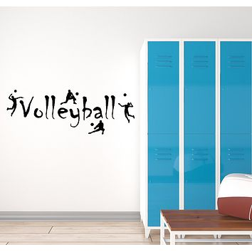 Vinyl Wall Decal Volleyball Players Logo Sport Team Game Stickers (3161ig)