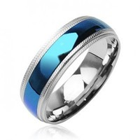 316L Surgical Stainless Steel Rings/ IP Blue Center - Size:10