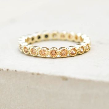 Bezel Eternity Band - Gold + Champagne