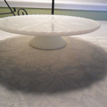 Vintage Cake Stand Cottage Chic Milk Glass Anchor Hocking White Pedestal Plate from Amelie's Farmhouse Cake Stand
