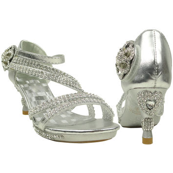 Kids Dress Sandals Rhinestone Cross Strap High Heel Pageant Shoes Silver SZ