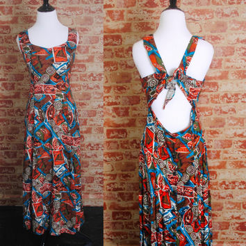 Vintage 1990s Sleeveless Rayon TRIBAL Ethnic Print Sexy Backless GRUNGE fitted waist Festival Summer MAXI Dress