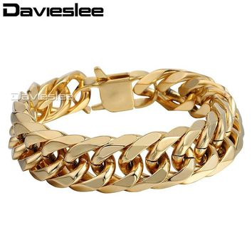 18mm Heavy Gold Tone Double Cuban Curb Link Rombo Mens Chain Boys 316L Stainless Steel Bracelet Customized Jewelry LHB421