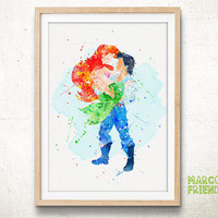Ariel and Eric - Watercolor Art Print, Room Decor, Disney Little Mermaid Poster, Home Baby Nursery Wall Art