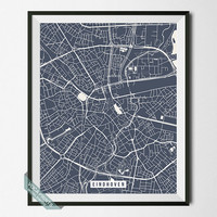 Eindhoven Print, Netherlands Map Poster, Eindhoven Street Map, Netherlands Print, Wall Print, Room Decor, Wall Art, Back To School
