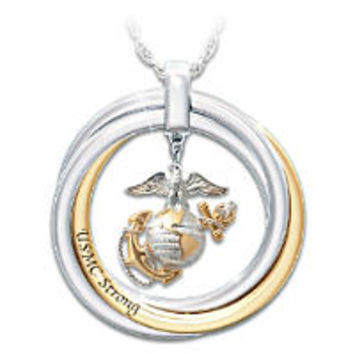 USMC Embrace Diamond Ring With Sculpted Marine Corps Emblem