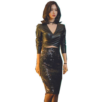 2017 winter Autumn Vintage Fashion Skirt Midi Women Knee-Length High Waist  Thickening sequins Skirts
